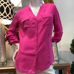 NYGARD Pink Button Front Blouse
